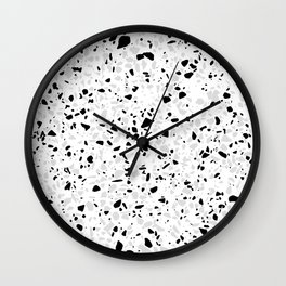 Black White and Grey Speckles Terrazzo Monochrome Dots Patter Wall Clock