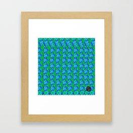 Cannabis Print Green and Blue Framed Art Print