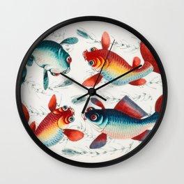 4 Crazy Fish Illustration Wall Clock