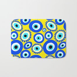 Mediterranean Eye Pattern Yellow and Blue Bath Mat