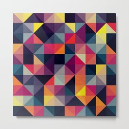 Colored squares and triangles Metal Print