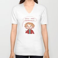 enjolras V-neck T-shirts featuring Enjolras Reminder by Antisepticbandaid