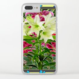 BLUE BUTTERFLIES WHITE LILIES  FLORAL MODERN ART Clear iPhone Case