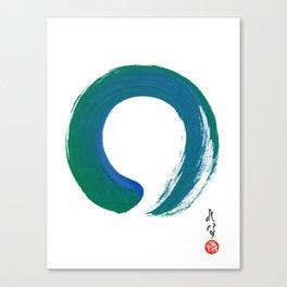 Enso - Japanese Art - Zen Circle - Green Blue Teal Zen Painting Zen Art Canvas Print