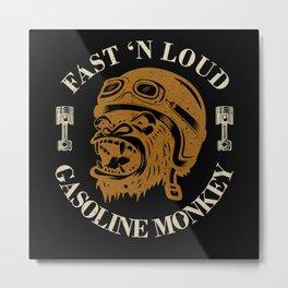 Monkey Biker Metal Print