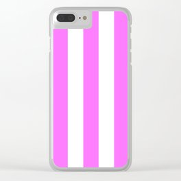 Shocking pink (Crayola) - solid color - white vertical lines pattern Clear iPhone Case