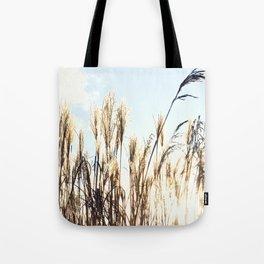 sun setting on reeds Tote Bag