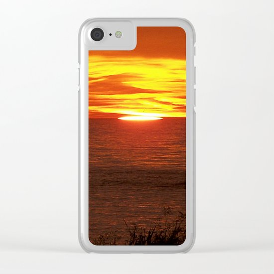 Flaming Skies Across the Sea Clear iPhone Case