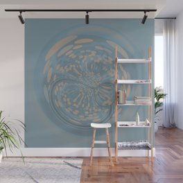 Soft Blue and Beige Circle Abstract Wall Mural