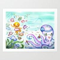 Silly Jellyfish  Art Print