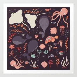 Sea creatures 002 Art Print