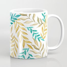 Tropical leaves (yellow and blue). Watercolor Coffee Mug
