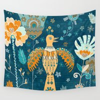 folk Wall Tapestries featuring Folk Garden by Carolina Coto Art