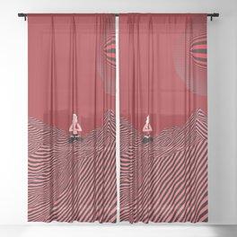 minimal art with yoga pose Sheer Curtain