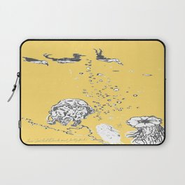 Two Tailed Duck and Jellyfish Pale Yellow Mellow Laptop Sleeve