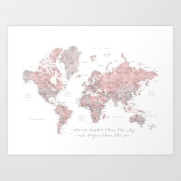 Inspirational detailed world map in dusty pink and gray Art Print