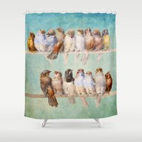birds Shower Curtains featuring Birds Birds Birds by Diogo Verissimo