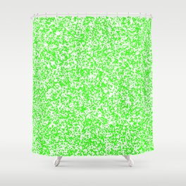 Tiny Spots - White and Neon Green Shower Curtain