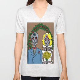 Day of the Dead Bride & Groom Portrait Unisex V-Neck