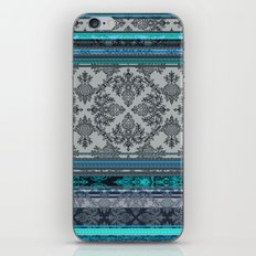 Teal, Aqua & Grey Vintage Bohemian Wallpaper Stripes iPhone & iPod Skin