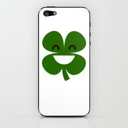 Clover Emoji Smiling St Patricks Day Irish Shamrock iPhone Skin