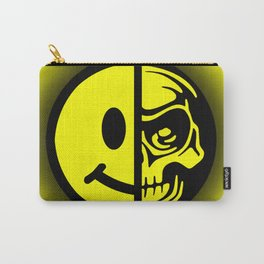 Smiley Face Skull Yellow Shadow Carry-All Pouch