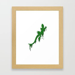 Distressed Green Salamander With Paint Drip Framed Art Print