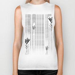 Black & White Siam Tulips Biker Tank