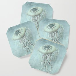 Jellyfish Underwater Aqua Turquoise Art Coaster