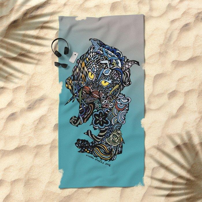 Dragon Cat (Color) Beach Towel