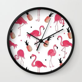 Flamingo and Pineapple Tropical Pattern Wall Clock