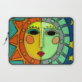 Moon and Sun Abstract Digital Painting Laptop Sleeve