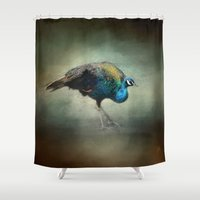 wildlife Shower Curtains featuring Peacock 2 - Wildlife by Jai Johnson