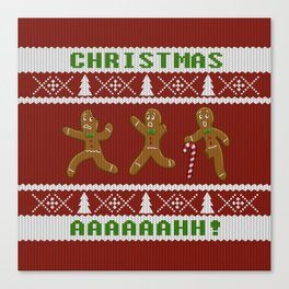 Ugly Christmas Sweater Scared Gingerbread Men Red Canvas Print