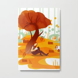 Summer Reading Girl Under Tree Metal Print
