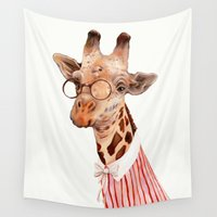 giraffe Wall Tapestries featuring Giraffe by Animal Crew