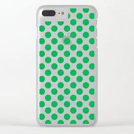 Green Polka Dots Clear iPhone Case