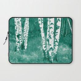 Teal birch forest landscape Laptop Sleeve