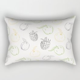 Cute and nice fruits and berry pattern with raspberry and plum Rectangular Pillow