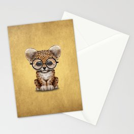 Cute Baby Leopard Cub Wearing Glasses on Yellow Stationery Cards