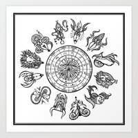 zodiac Art Prints featuring zodiac  by My dominance