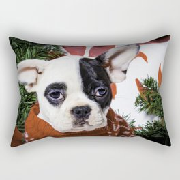 Black and White French Bulldog Puppy Poses in a Christmas Wreath Rectangular Pillow