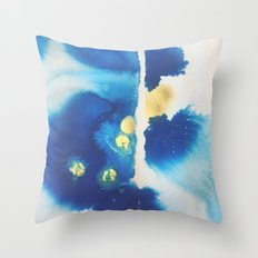 Cool Blues N Gold Throw Pillow