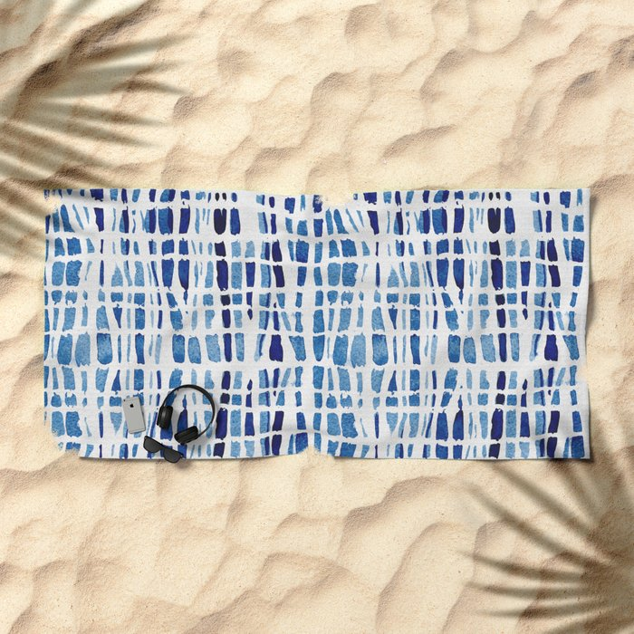 Shibori Braid Vivid Indigo Blue and White Beach Towel