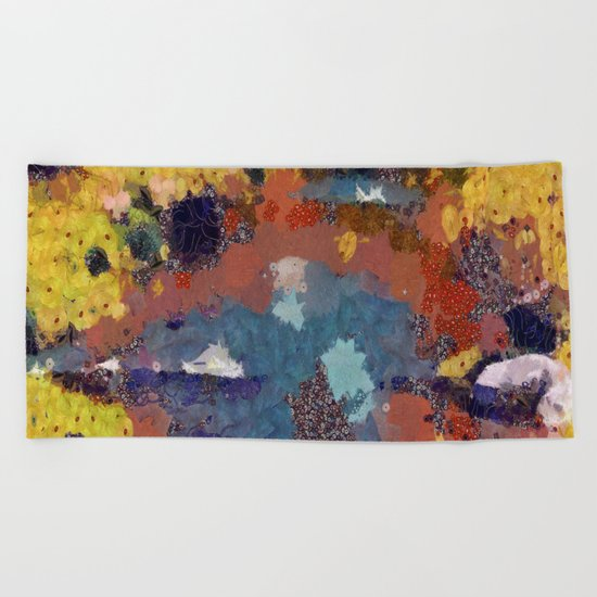 Autumn pond in the park Beach Towel