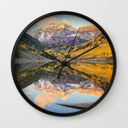 Maroon Bells Autumn Sunrise Aspen Colorado Mountain Fall Landscape Wall Clock