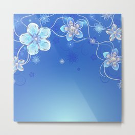 Blue background with silver flowers Metal Print