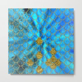 Blue Aqua Turquoise And Gold Glitter Mermaid Scales -Beautiful Mermaidscales Pattern Metal Print