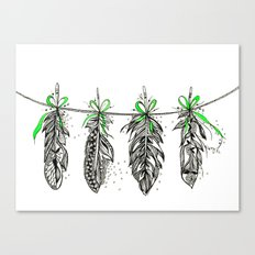 Feather Bunting. Green Ribbon Canvas Print