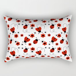 Red Ladybug Floral Pattern Rectangular Pillow